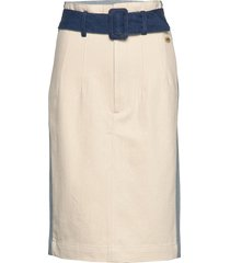 midi length colourblock denim pencil skirt knälång kjol creme scotch & soda