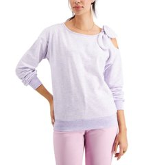 charter club petite cold-shoulder tie-detail sweatshirt, created for macy's