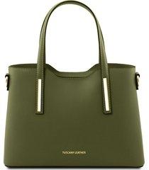tuscany leather tl141521 olimpia - borsa a mano in pelle - misura piccola verde oliva