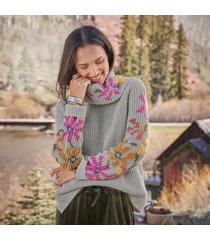 sundance catalog women's lovely lore sweater petite in gray floral petite small