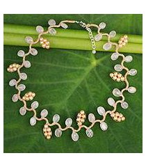 cultured pearl and rose quartz beaded necklace, 'sweet peach ivy' (thailand)