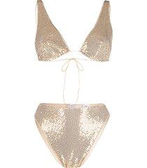 oséree sequin-embellished bikini - gold