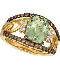 le vian chocolatier mint julep quartz (2-5/8 ct. t.w.) & diamond (5/8 ct. t.w.) ring in 14k gold