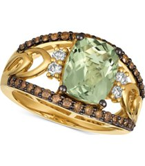 le vian chocolatier mint julep quartz (2-5/8 ct. t.w.) & diamond (5/8 ct. t.w.) ring in 14k gold