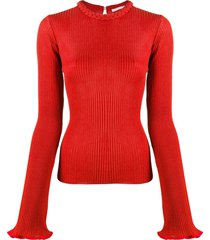 chloé braided-detail ribbed jumper - red