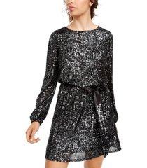 crystal doll juniors' sequined blouson dress