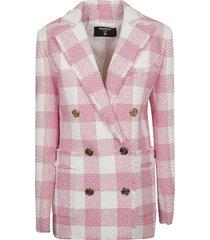 balmain double-breasted check tweed jacket