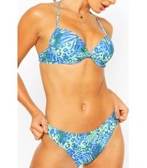 mix & match luipaardprint push-up bikini top, blauw
