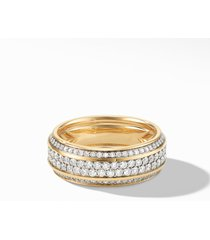men's david yurman beveled 18k gold band ring with pave diamonds