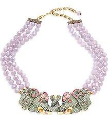 goldtone, multicolor crystal & enamel beaded pendant necklace