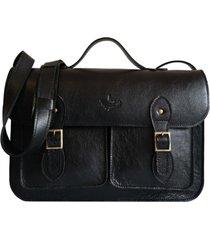 bolsa line store leather satchel pockets grande couro preto