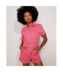 macaquinho de sarja feminino com bolsos e zíper manga curta rosa