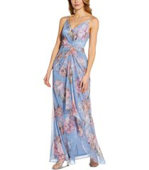 adrianna papell metallic floral gown
