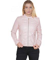chaqueta ecocuero rosada todopiel