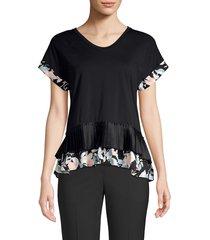 donna karan women's tiered peplum top - black - size l