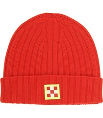 cashmere blend red hat with check patch