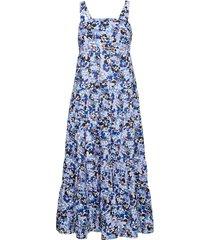 thrift shop tiered dress beach wear blauw seafolly