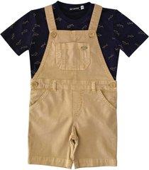 jardineira tingida collor com camiseta estampada ser garoto marrom - azul marinho/marrom - menino - algodã£o - dafiti