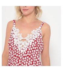 regata fashion4you com detalhe em renda vermelho