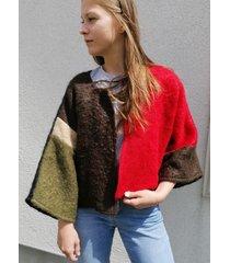 żakiet kimonowy z mohairu patchwork