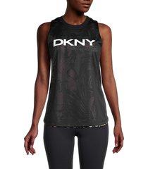 dkny women's dizzy tropics reversible tank top - black multi - size l