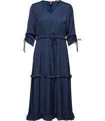 midi length dress with v-neck and ruffles knälång klänning blå scotch & soda