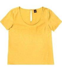 blusa hering manga curta tecido feminina - feminino