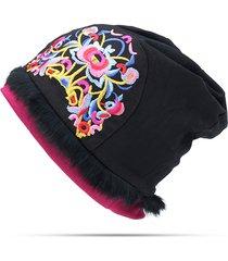 berretto di ricamo floreale del ricamo del fiore del cappello di beanie del cotone sottile di sapore etnico nazionale delle donne di sapore etnico