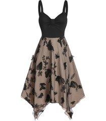 3d butterfly cami layered asymmetric dress