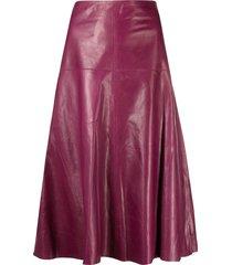 arma flared leather skirt - purple