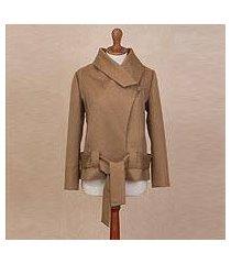 alpaca blend coat, 'sassy chic in tan' (peru)