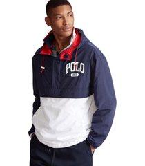 polo ralph lauren men's color-blocked graphic logo pullover windbreaker