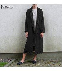 zanzea mujeres manga larga chaqueta de la capa de algodón rompevientos abrigo cardigan -negro