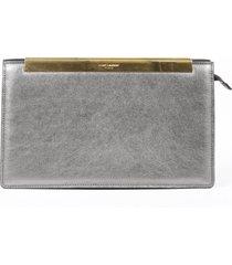 saint laurent lutetia gray leather clutch bag gray sz: m