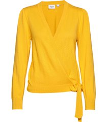 u2527, knit cardigan l/sl gebreide trui cardigan geel saint tropez