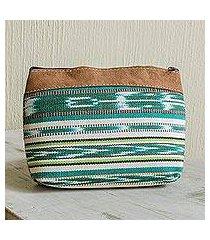 handwoven cotton cosmetic bag, 'antigua fields' (guatemala)