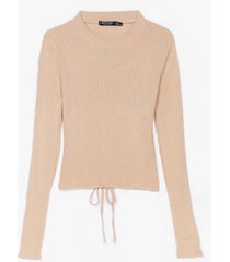 womens what tie like about you ribbed knit top - oatmeal