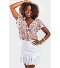 portland ruffle mini skirt - white