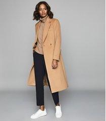 reiss jess - slim fit satin trim trousers in night navy, womens, size 10