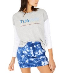 tommy hilfiger logo-print contrast-sleeve sweatshirt, created for macy's