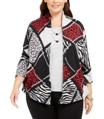 alfred dunner plus size well red animal-print patchwork layered-look necklace top