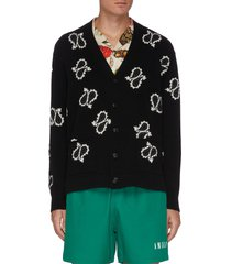 all-over paisley intarsia cashmere cardigan