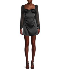 danielle bernstein women's puff-sleeve mini dress - black - size 2