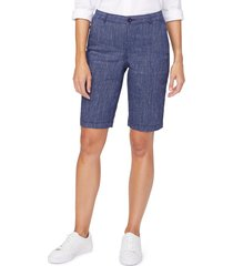 women's nydj stretch linen blend bermuda shorts, size 4 - blue