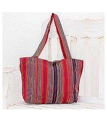 cotton tote, 'festive stripes' (13 inch) (el salvador)