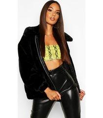 faux fur oversized bomber jacket, black