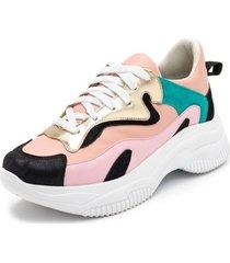 tenis chunky casual feminino sneaker rosa bebê