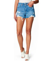 women's blanknyc barrow high waist cutoff denim shorts, size 31 - blue