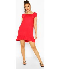 cap sleeve swing dress, red
