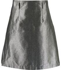 comme des garçons homme plus metallic belted denim skirt - silver